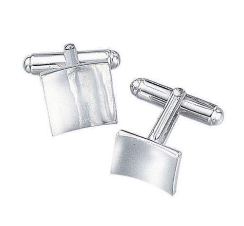 Solid Sterling Silver Square Curved Wave Cufflinks